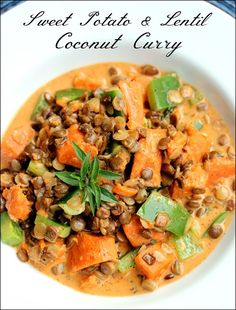 Sweet Potato Lentil Coconut Curry - vegan, gluten free, easy to make and delicious!