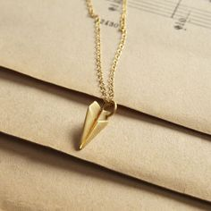 Lily Charmed 'Time Flies When You're Having Fun' Paper Plane Necklace - Gold