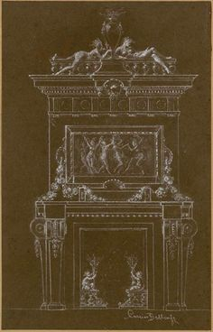 Albert-Ernest Carrier-Belleuse, sketch of a fireplace, Paris, Museum of Decorative Arts. Centre De Documentation, Second Empire, Architectural Antiques, Terracotta, 19th Century, Art Decor, Bronze, Sculpture, Paris