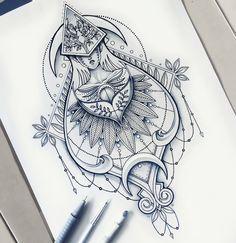 Geometrical drawing detailed illustration @saphiriart on Instagram