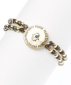 Look what I found on #zulily! Gold & Olive Double-Strand Empower Stretch Bracelet #zulilyfinds