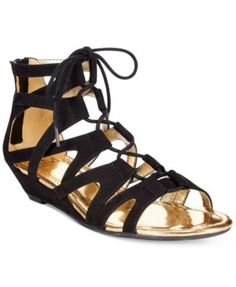 Material Girl Opera Lace Up Ghillie Demi Wedge Sandals
