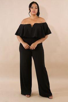 7fe1348a102a Black Taylor Off Shoulder Jumpsuit  plussizeonabudget  plussize Curvy Women  Fashion