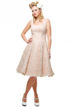 Authentic Vintage 1940s Champange Tinsel Pattern Swing Dress - Sz 8 - UV Bridal - Dresses - Clothing