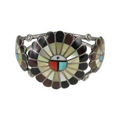 1960s Native American Sterling Silver Zuni Sun Face Bracelet  | From a unique collection of vintage cuff bracelets at https://www.1stdibs.com/jewelry/bracelets/cuff-bracelets/
