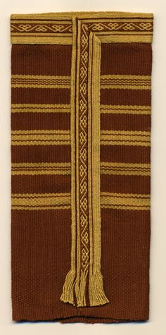 How the tablet woven band was attached to the sleeve of Bertille, abbess.  From the remains of Queen Batilde and Bertille. ca.700AD, France. Woven by  van Epen.