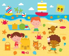 Hey everyone, I hope your having a wonderful week with sunshine and nice weather! :) I wanted to share with you an illustration I did for t. Beach Illustration, Cute Sketches, Surface Design, Cute Couples, Illustrators, Art For Kids, Clip Art, Kids Rugs, Drawings
