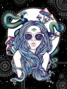 Third eye and snakes. Illustration available in Durianaddict's adult coloring book Trippy Chicks. Trippy Drawings, Psychedelic Drawings, Art Drawings, Psychedelic Drugs, Art Blue, Psychadelic Art, Psy Art, Arte Disney, Dope Art
