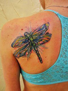 Paint Splattered Dragonfly Tattoo by Ivan Hack at Trash Work Tattoo in Мockba, Russia