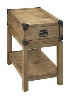 Carmel Burnished Natural One Drawer Chairside Table