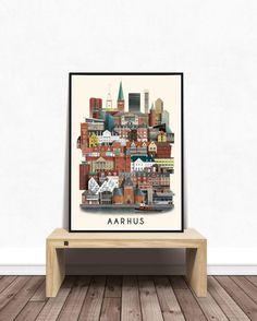 Byplakat af Aarhus - af Martin Schwartz Aarhus, Photo Wall, Frame, Illustration, Poster, A3, Home Decor, Nature, Politics