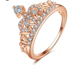 ac7c5c0159d Beautiful rose gold filled crown ring with dazzling cz. Surface Width  2mm  Setting Type