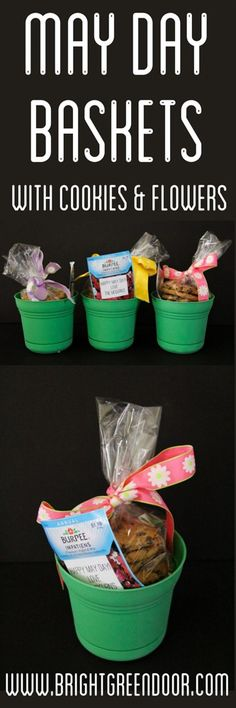 May Day Baskets with Flowers and Cookies