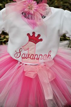 Pink Crown number Tutu Outfit by tutticutesytutus on Etsy