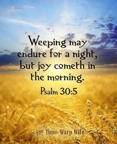 "Psalm 30:5 ""Weeping may endure for a night, but joy cometh in the morning."" thevoiceoftruthblog.weebly.com"