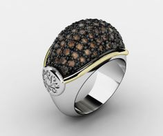 925 Sterling Silver Ring Yellow 18k. Gold CZ Brown. #bohemme #jewelry #glamour #ring #fashion #style #gold