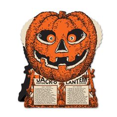 Wheel of fortune Jack-O-Lantern Game, a vintage reproduction from the 1930's. Fortune fun game or Halloween display. Sixteen fortunes, two number wheel spinners. Dials are spun, then numbers revealed