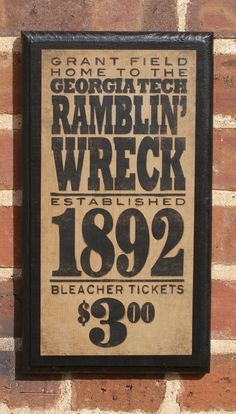 Georgia Tech Ramblin' Wreck Vintage Style Wall Plaque