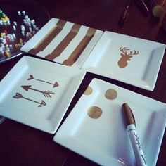 Ceramic + Sharpies = simple DIY gifts. Head to Goodwill for a great deal on plates, cups, saucers, etc.!