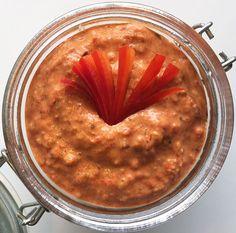 Bagt peberfrugt creme med mandler og parmesan - dejlig sød og cremet!