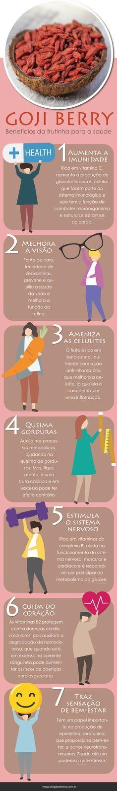 Goji berry: benefícios da frutinha para a saúde - Blog da Mimis #gojiberry #frutassecas #fruta #vermelha #saúde #dieta #alimentação #emagrecer #blogdamimis