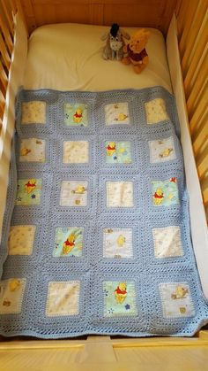Winnie the Pooh Crochet and Fabric Fusion Blanket  Cot bed
