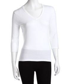Look what I found on #zulily! White Three-Quarter Sleeve Sweater - Women #zulilyfinds