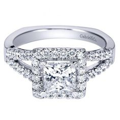 14k white gold 1.45cttw princess cut halo diamond engagement ring with prong set side diamonds and split shank design for a 1ct princess cut center. A square halo perfectly fits and 1ct priness cut di
