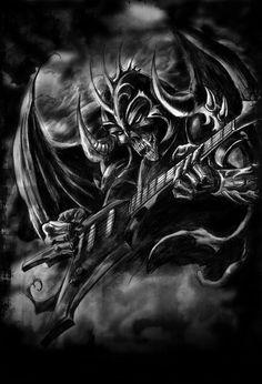 mestre do mal tocando guitarra