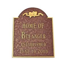 Montague Metal Products Two Hearts Wedding Address Plaque Finish: Antique Copper / Copper, Mounting: Wall