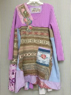 Upcycled Clothing Patchwork Pastel Lavender by SimplyCathrineAnn