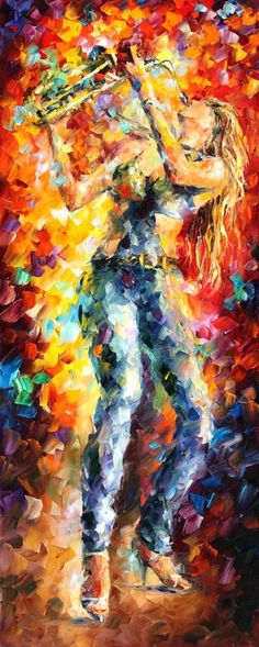 """City Vibes — PALETTE KNIFE Oil Painting On Canvas By Leonid Afremov - Size: 16""""x40"""""""