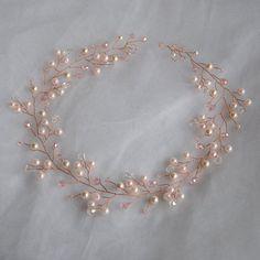 Pelo novia vid rosa peluca oro boda diadema corona perla