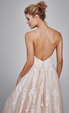 'Suri' Fall 2017 #KellyFaetanini strapless blush tulle ballgown with shimmer lace wedding dress http://www.kellyfaetanini.com