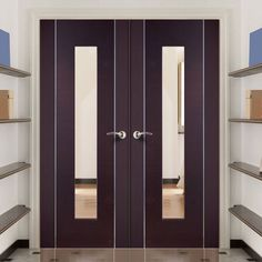Forli Wenge Door Pair with Clear Safety Glass, really stunning looks coupled with style and practicality. #vengedoorpair #moderndoorpair #contemporarypurpledoor