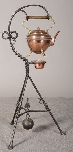 """Arts and Crafts spirit kettle on stand manufactured by """" Benham and Froud"""" and bearing their famous """"ORB"""" mark (slightly worn) and the registered design number - Rd.16326+1 indistinct number. Circa 1890"""