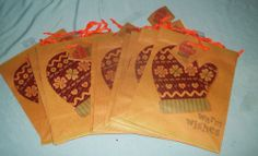 Lot of 12 New Warm Wishes Country Primitive Holiday Christmas Gift Bags Brown | eBay $6.99
