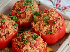 Andouille, Chicken, and Shrimp Jambalaya-Stuffed Peppers from @Sandy Bonner Eats #recipe #oliveoil #peppers