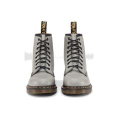 Dr Martens 1460 Boot GREY SMOOTH - Doc Martens Boots and Shoes ($69) ❤ liked on Polyvore featuring shoes, boots, ankle booties, botas, dr. martens, gray boots, grey boots, dr martens boots and grey ankle booties