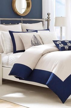 Nautical Bedroom Decorating Ideas – My Home Design 2019 Navy Master Bedroom, White Bedroom, Bedroom Décor, Master Bedrooms, Dream Bedroom, Nautical Bedding, White Bedding, Nautical Bedroom Decor, Coastal Decor