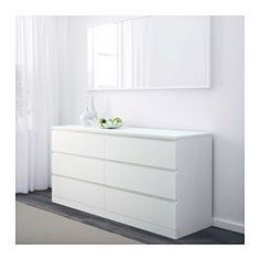 IKEA - MALM, 6-drawer dresser, white, , Of course your home should be a safe place for the entire family. That's why hardware is included so that you can attach the chest of drawers to the wall.A wide chest of drawers gives you plenty of storage space as well as room for lamps or other items you want to display on top.Smooth running drawers with pull-out stop.If you want to organize inside you can complement with SKUBB box, set of 6.