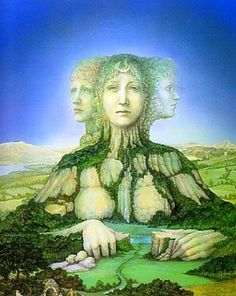 Saint Brigid, Triple Goddess as Mountain, artist unknown. Provenance info welcome.