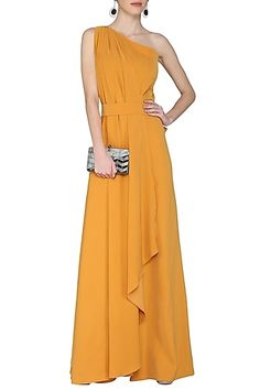 SWATEE SINGH presents Mustard drape wide leg jumpsuit available only at Pernia's Pop Up Shop. Indian Gowns, Indian Wear, Pernia Pop Up Shop, Yellow Fashion, Western Outfits, Playing Dress Up, Jumpsuits For Women, Evening Dresses, Formal Dresses