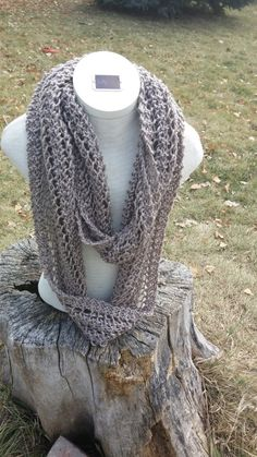 Taupe Knitted Ladder Lace Infinity Scarf