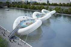 What we wrote on October 20, 2012: Too good to be true was our initial thought when viewing these images. The French architecture firm, Atelier Zündel Cristea, proposed the following design for a trampoline bridge spanning across the Seine River in Paris. Although it seems highly unrealistic for a city to ever approve such a safety hazard of funness, it is a great idea.