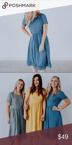 33e3fd2b4980 Ashley Lemieux: Blue Lace Midi Dress Beautiful solid modest dress with  pockets, lining,
