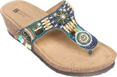 White Mountain Women's Brilliant Beaded Thong Sandal Navy/Multi Leather Size 8 M | Jet.com