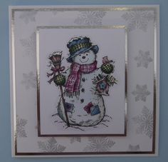 BG70, 72 & BG90 for the snowman himself, RV63, 66 & 69 for the pink touches, B93, 95 & 97 for the blues, G20, 24, 28 & 29 for the greens, E70, 71, 74 & 77 for the browns, and then shadow with B60.
