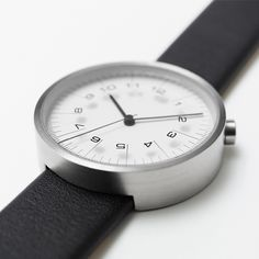 Nendo - Draftsman 01.Scale 36mm 316L Stainless steel case, Calf leather Strap, Miyota 2035 Movement, 36mm, WR 3ATM, hour indicators printed directly on to the sapphire glass lens.