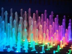 Rainbow Fountain of Dancing Water ~ Rainbow Light, Love Rainbow, Taste The Rainbow, Over The Rainbow, Rainbow Colors, Rainbow Water, Rainbow Trout, Bright Colors, World Of Color